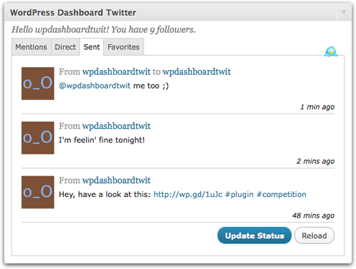 dashboardtwitter 10 Twitter Plugins That Will Increase Your Wordpress blog