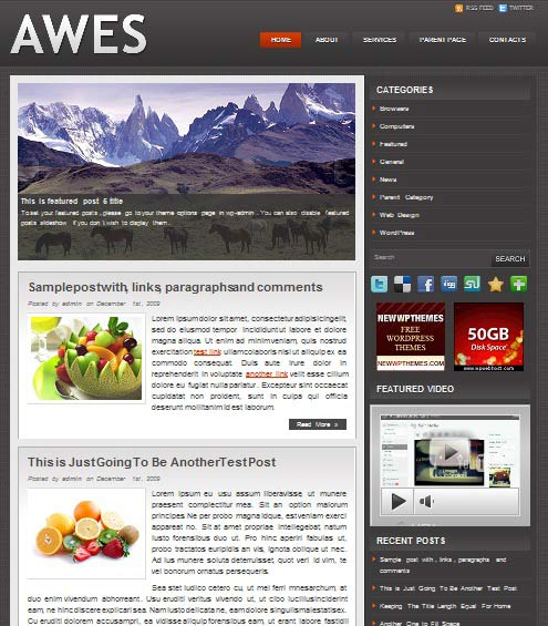 awes 101 free premium wordpress themes