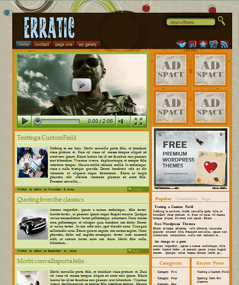 erratic 101 free premium wordpress themes
