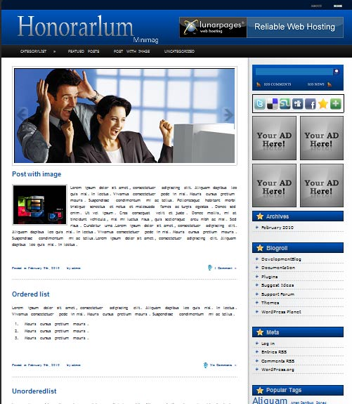 honorarlum 101 free premium wordpress themes