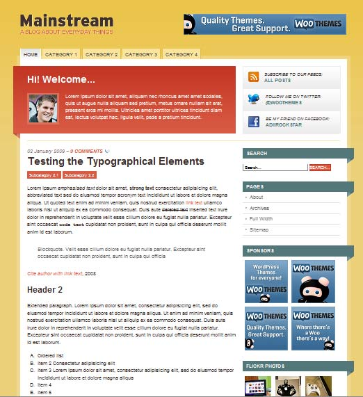 mainstream 101 free premium wordpress themes