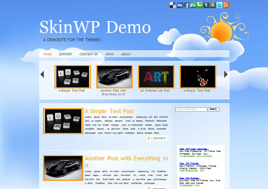 sky1 101 free premium wordpress themes