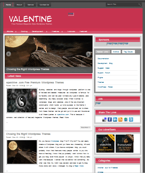 valentine 101 free premium wordpress themes