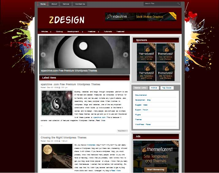 zdesign 101 free premium wordpress themes