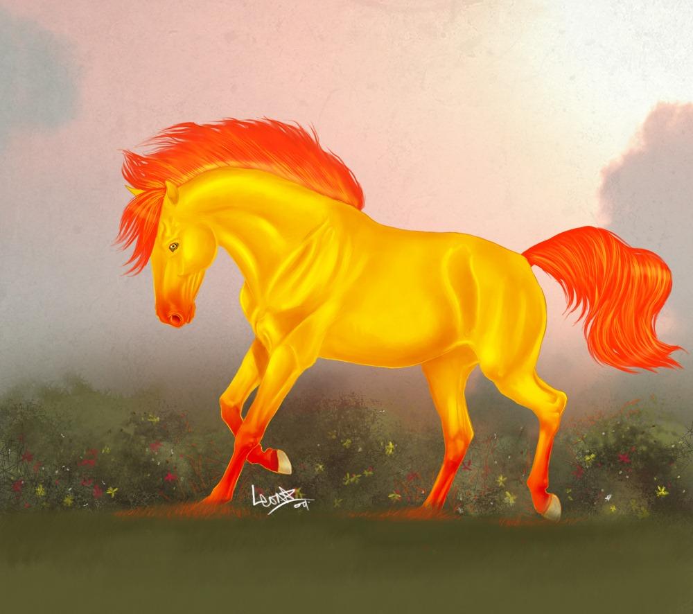 картинки златогривые кони гаультерии