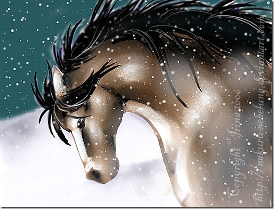 Christmas horse in snow by Nakuru Nebelung thumb 40 Beautiful Digital Painted Horses