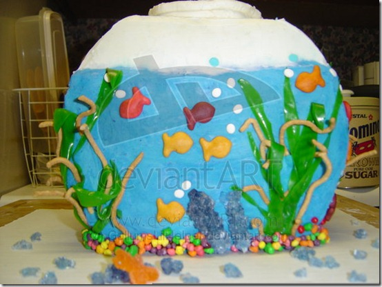Fish Bowl Cake by GollumsLilHelper thumb 100 Amazing Examples Of Art You Can Eat