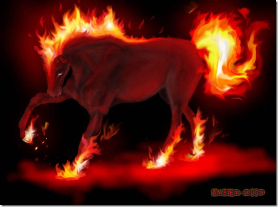 pesadilla   HORSE FIRE  by MissNariel thumb 40 Beautiful Digital Painted Horses