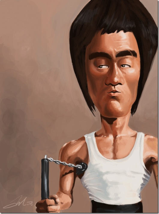 Bruce Lee caricature by AndrewMok thumb Celebrity Caricature Inspirations