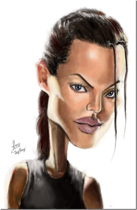 Caricature of Angelina Jolie by cheatingly thumb Celebrity Caricature Inspirations