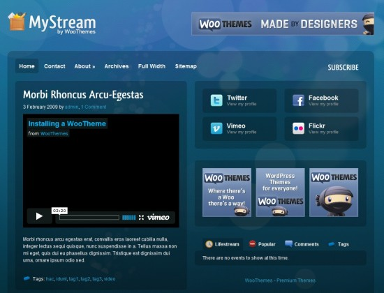 My Stream Video Template 550x420 7 Outstanding Wordpress Video Templates