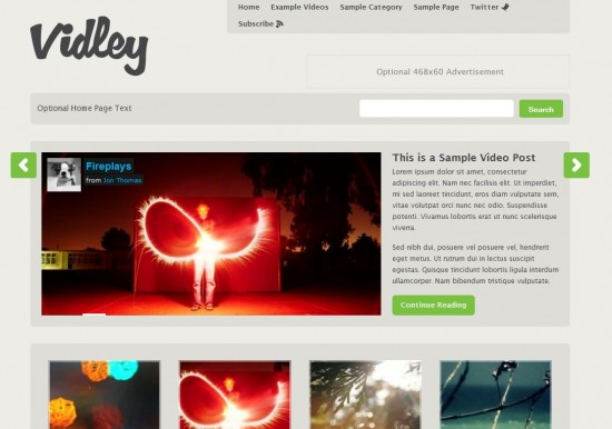 Vidley wp theme1 550x386 7 Outstanding Wordpress Video Templates