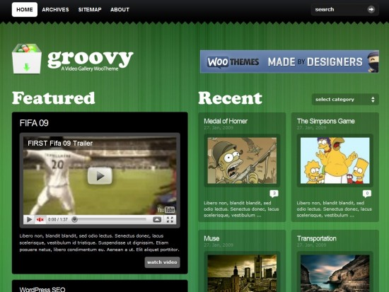 groovy video wp template 550x413 7 Outstanding Wordpress Video Templates