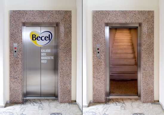 Becel Elevator 550x388 52 Advertisements Who Got Awarded For Their Creativity