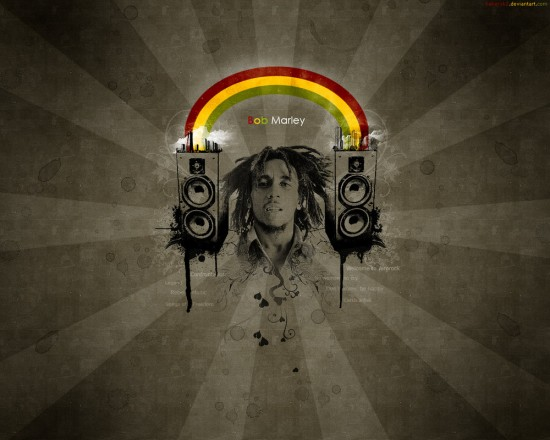Bob Marley by hakeryk2 550x440 23 Brilliantly Designed Music Wallpapers That Will Make Your Desktop Singing
