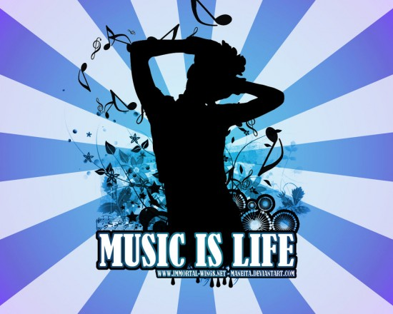 Music Is Life by maneita 550x440 23 Brilliantly Designed Music Wallpapers That Will Make Your Desktop Singing