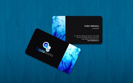 liquidworks business card by iTudor 550x342 21 Black Business cards Design