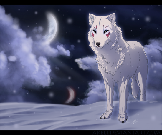 Snow Wolf by akeli 550x459 42 Well Painted Wolfs