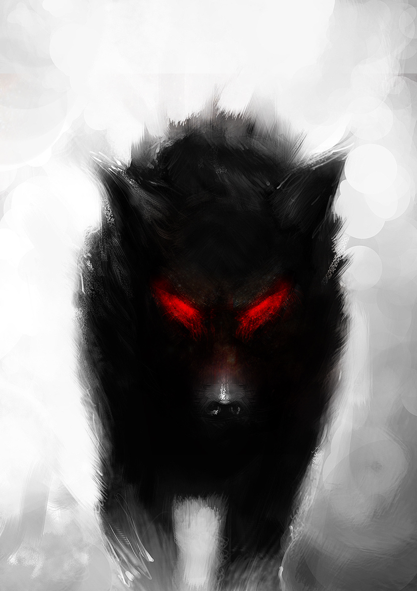 Angry black wolf red eyes - photo#7