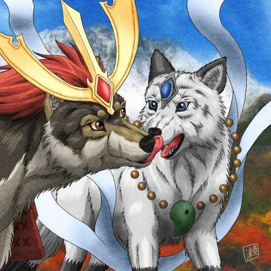 Wolf Kiss by derSheltie 550x550 42 Well Painted Wolfs