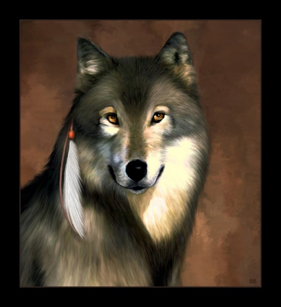 Wolf Portrait by bren 550x601 42 Well Painted Wolfs