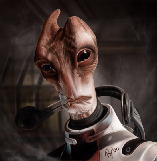 Salarian ME2 Digital Painting 550x563 15 Really Cool Digital Painting Examples