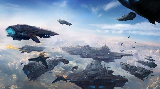 Spaceships Skycity Painting 550x305 15 Really Cool Digital Painting Examples