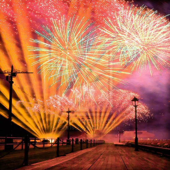 Splash of Fireworks by BluNeon 550x550 46 Inspirational Fireworks That Are Done In Photoshop