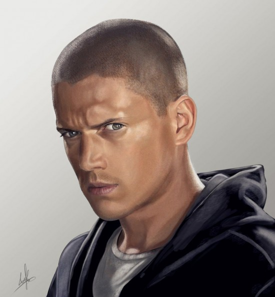 Wentworth Miller digital paint 550x594 15 Really Cool Digital Painting Examples