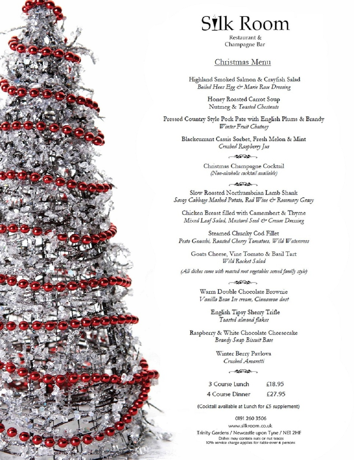 christmas menu brochures